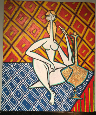 "Odalisque with Golden Hookah by Paul Zepeda 24"" x 20"""