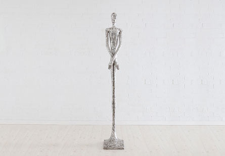 Skinny Male Sculpture, Silver Leaf