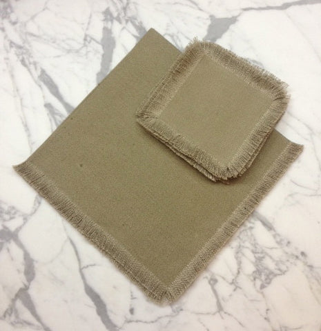 "22"" x 22"" Low shrinkage Linen Napkin Square-  Olive"