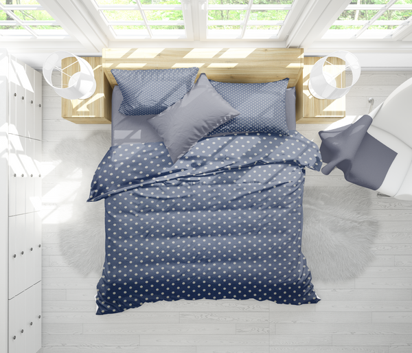 Olala Navy Polka Duvet Cover Set