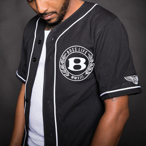 BossLife Baseball Jersey - Black/White