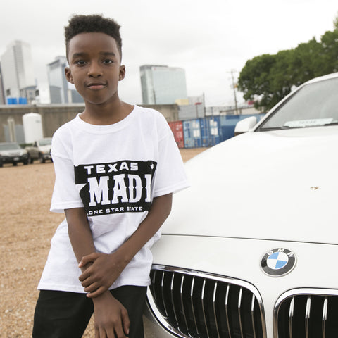 "HoggLife ""Texas Made"" Kids Tee - White/Black Flock"