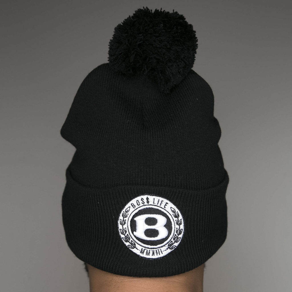"BossLife ""Circle B"" Pom Beanie - Black/White - BossLifeWorld  - 1"