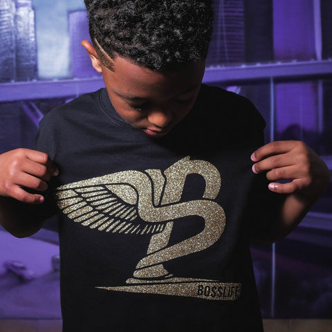 "BossLife ""Flying B' Kids Tee - Black/Gold"