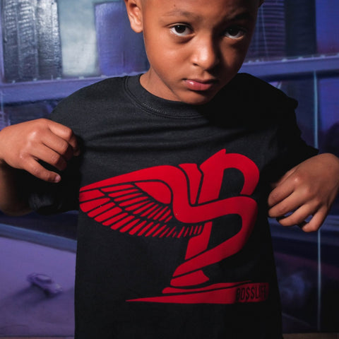 "BossLife ""Flying B' Kids Tee - Black/Red"