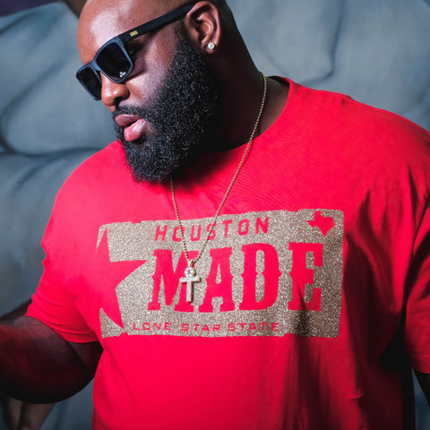 "HoggLife ""Houston Made"" Tee - Red/Gold"