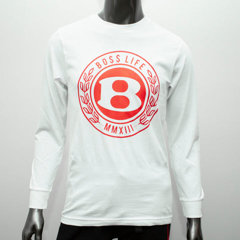 "BossLife ""Circle B"" LongSleeve - White/Red"