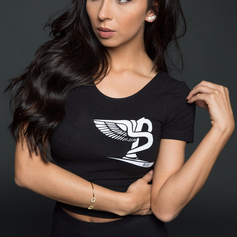 "BossLife ""Flying B"" Women's Crop Top - Black/White Flock"