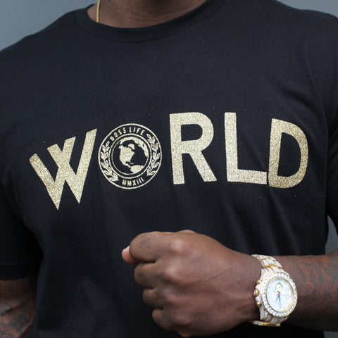 "BossLife ""World"" Tee - Black/Gold"