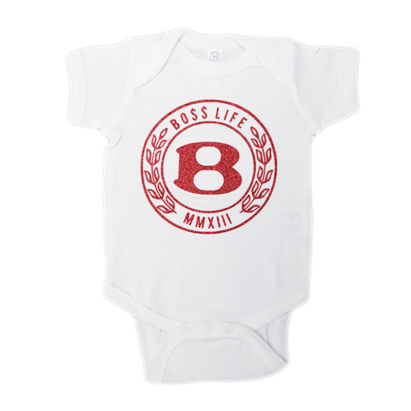 "BossLife ""Circle B"" Onesie - White/Red Glitter - BossLifeWorld"