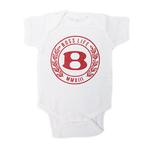 "BossLife ""Circle B"" Onesie - White/Red Glitter"