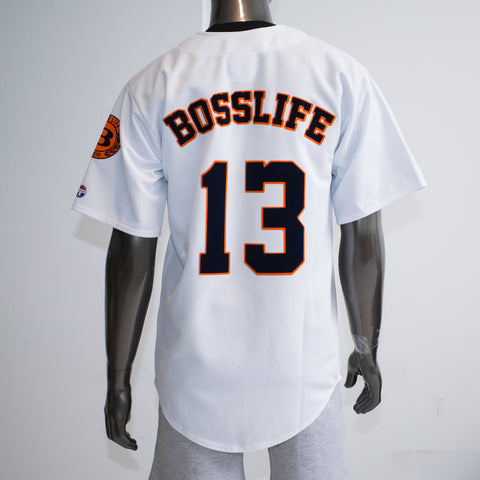 BossLife Baseball Jersey - White/Navy/Orange