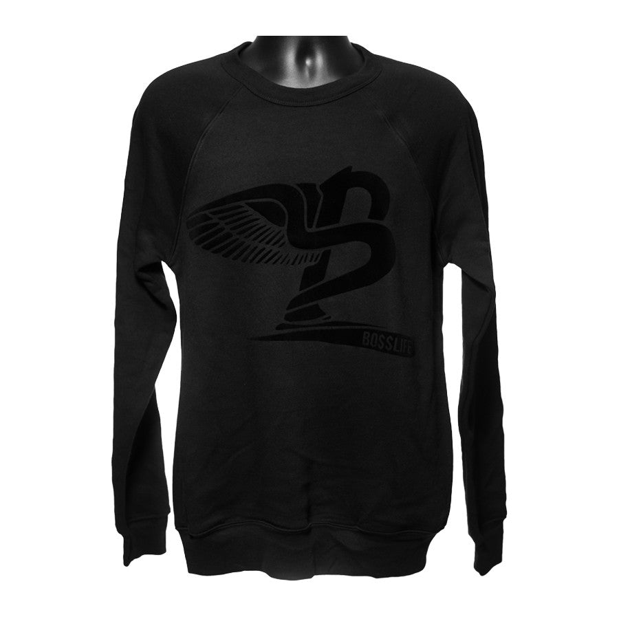 "BossLife ""Flying B"" Crewneck - Black/Black Flock - BossLifeWorld"