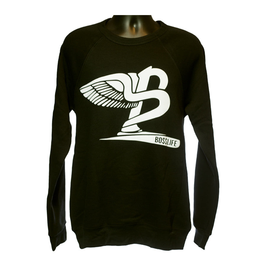 "BossLife ""Flying B"" Crewneck - Black/White Flock - BossLifeWorld"