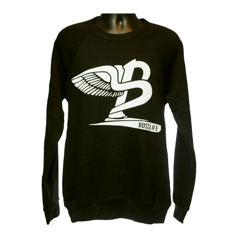 "BossLife ""Flying B"" Crewneck - Black/White Flock"