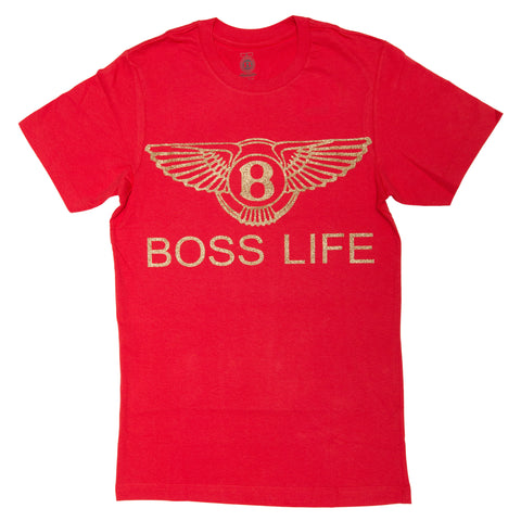 "BossLife ""Wings"" Tee - Red/Gold Glitter"