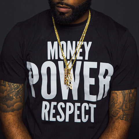 "BossLife ""Money Power Respect"" Tee - Black/White Flock"