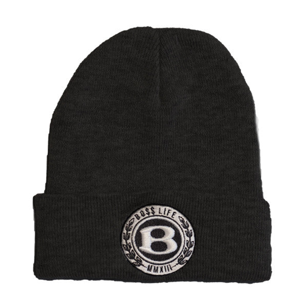 "BossLife ""Circle B"" Beanie - Black - BossLifeWorld"