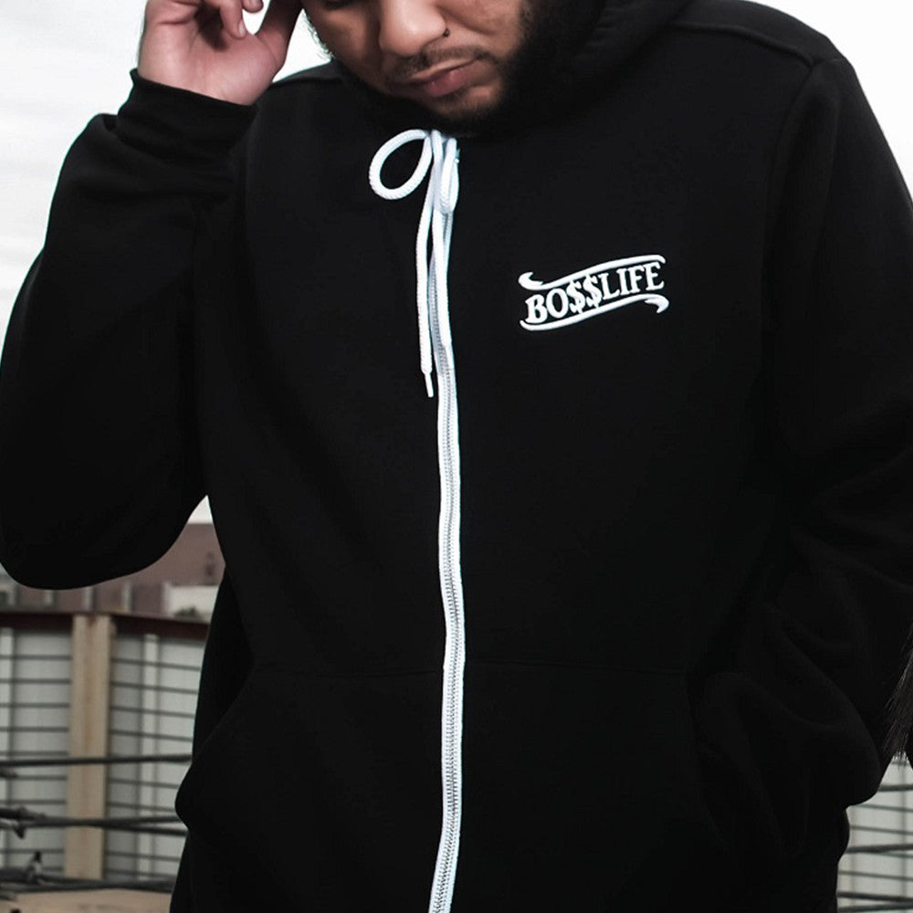 "BossLife ""World"" Zip Up - Black/White - BossLifeWorld  - 1"