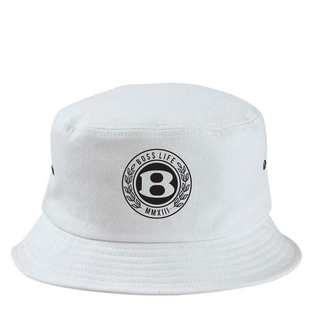 "BossLife ""Circle B"" Bucket Hat - White/Black"