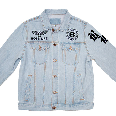 "BossLife ""Logos"" Denim Jacket - Denim/Black"