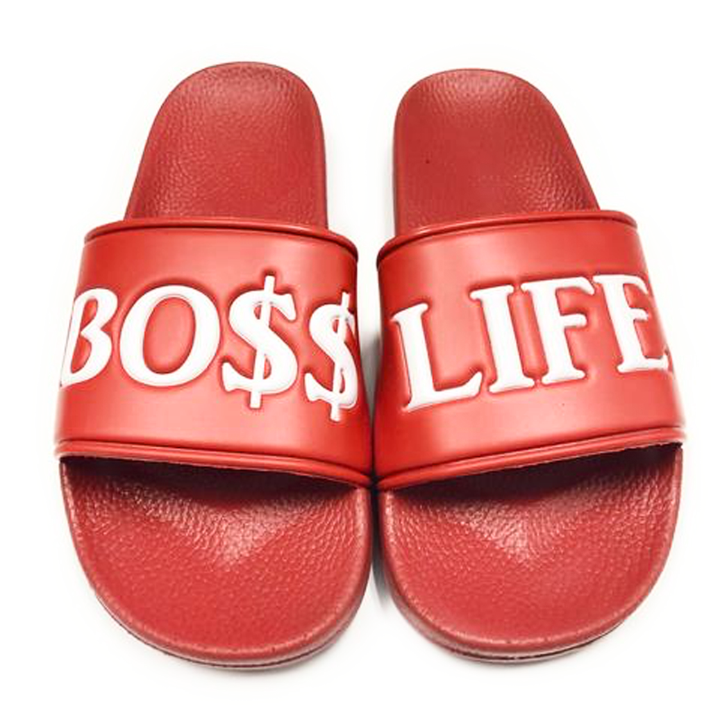 "BossLife ""Bo$$Life"" Slides - Red/White"