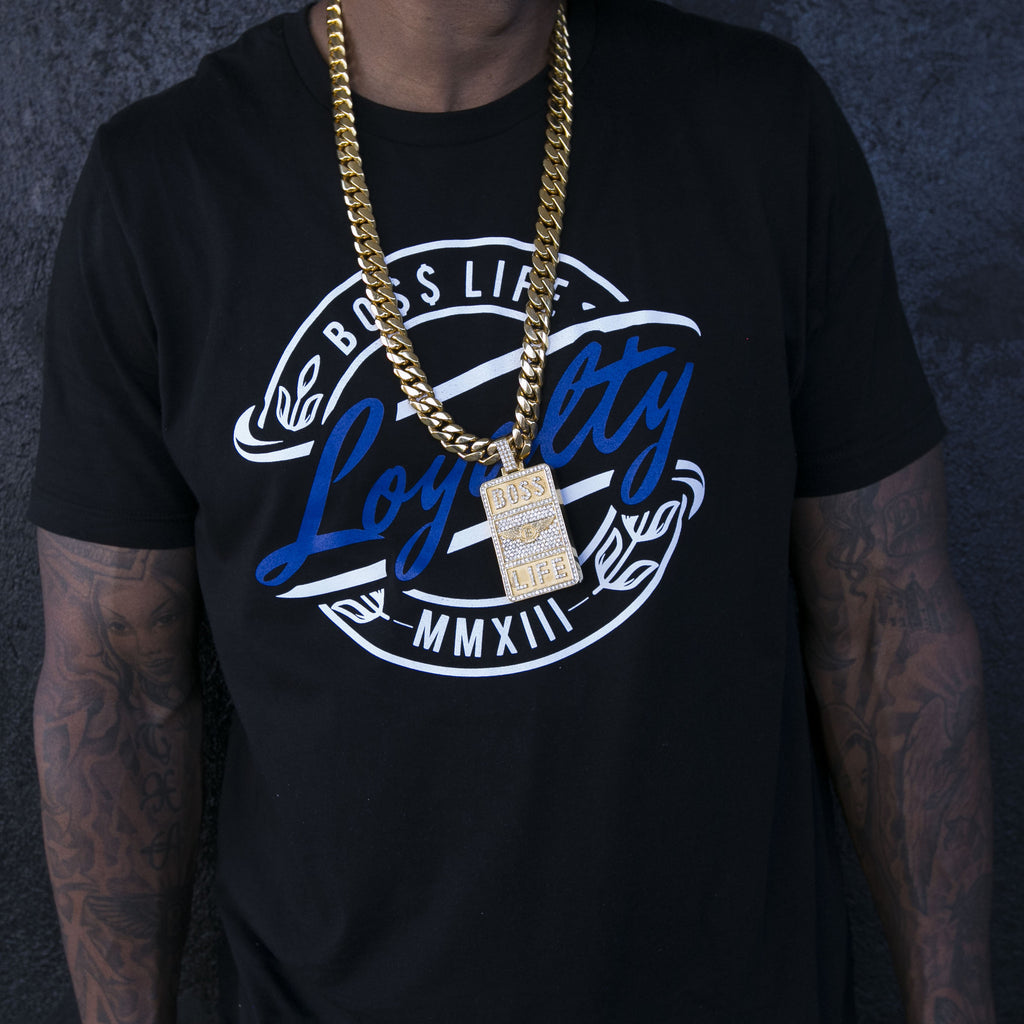 "BossLife ""Loyalty"" Tee - Black/Navy"
