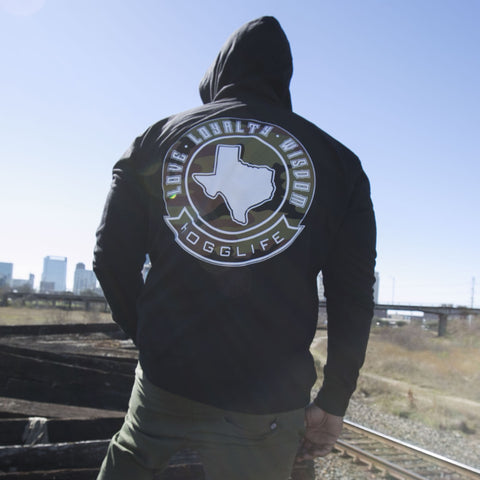 "HoggLife ""TEXAS""  Hoody - Black/Camo"