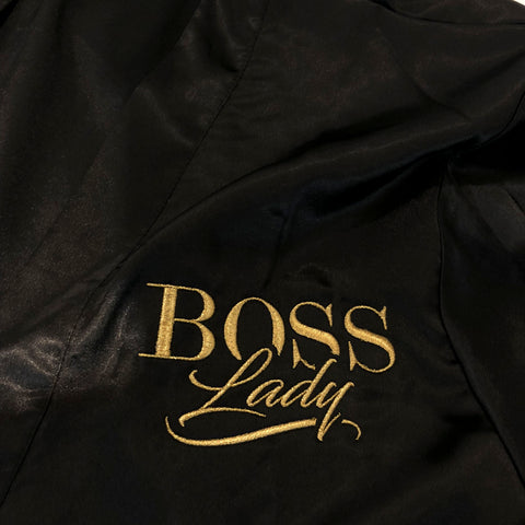 "BossLife ""BossLady"" Satin robe -Black/Gold"