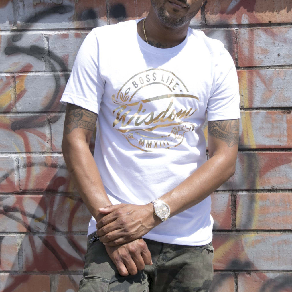 "BossLife ""Wisdom"" Tee  - White/Gold"