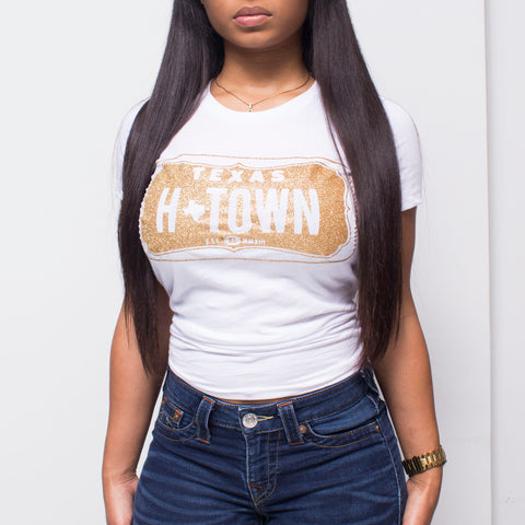 "HoggLife ""H-Town"" Women's Tee - White/Gold"