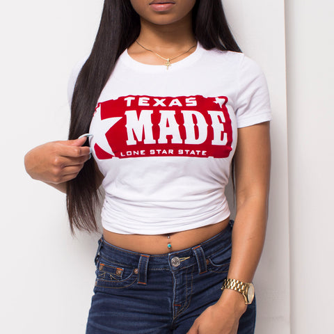 "HoggLife ""Texas Made"" Women's Tee - White/Red"