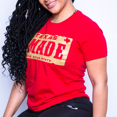 "HoggLife ""Texas Made"" Women's Tee - Red/Gold"