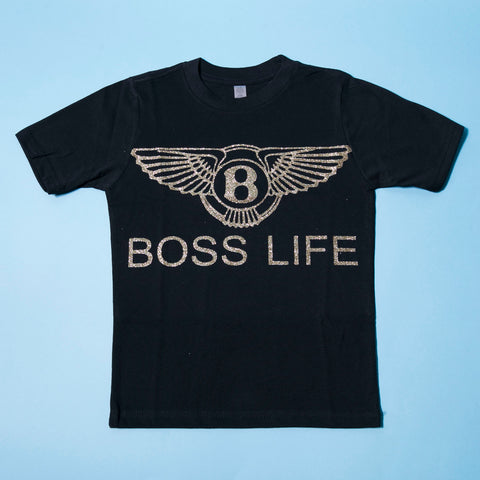 "BossLife ""Wings"" Kids Tee - Black/Gold"