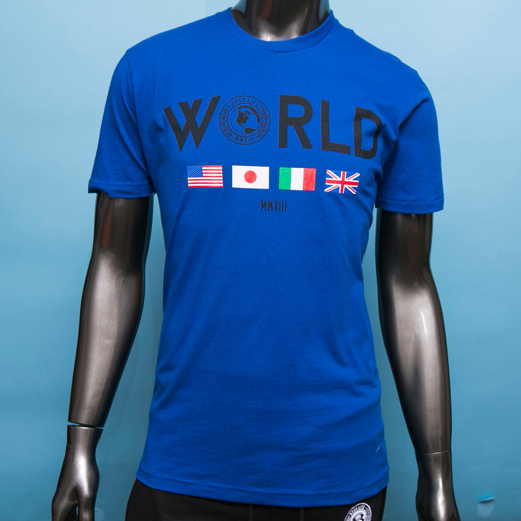 "BossLife ""World Wide"" Tee - Royal Blue"