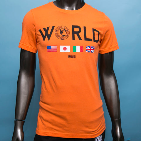 "BossLife ""World Wide"" Tee - Orange/Multi"