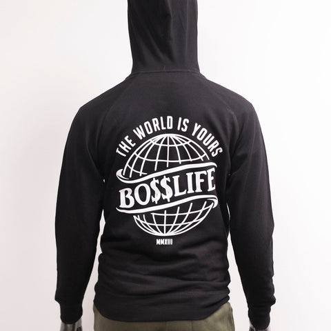 "BossLife ""The World is Yours"" Hoody - Black/White"