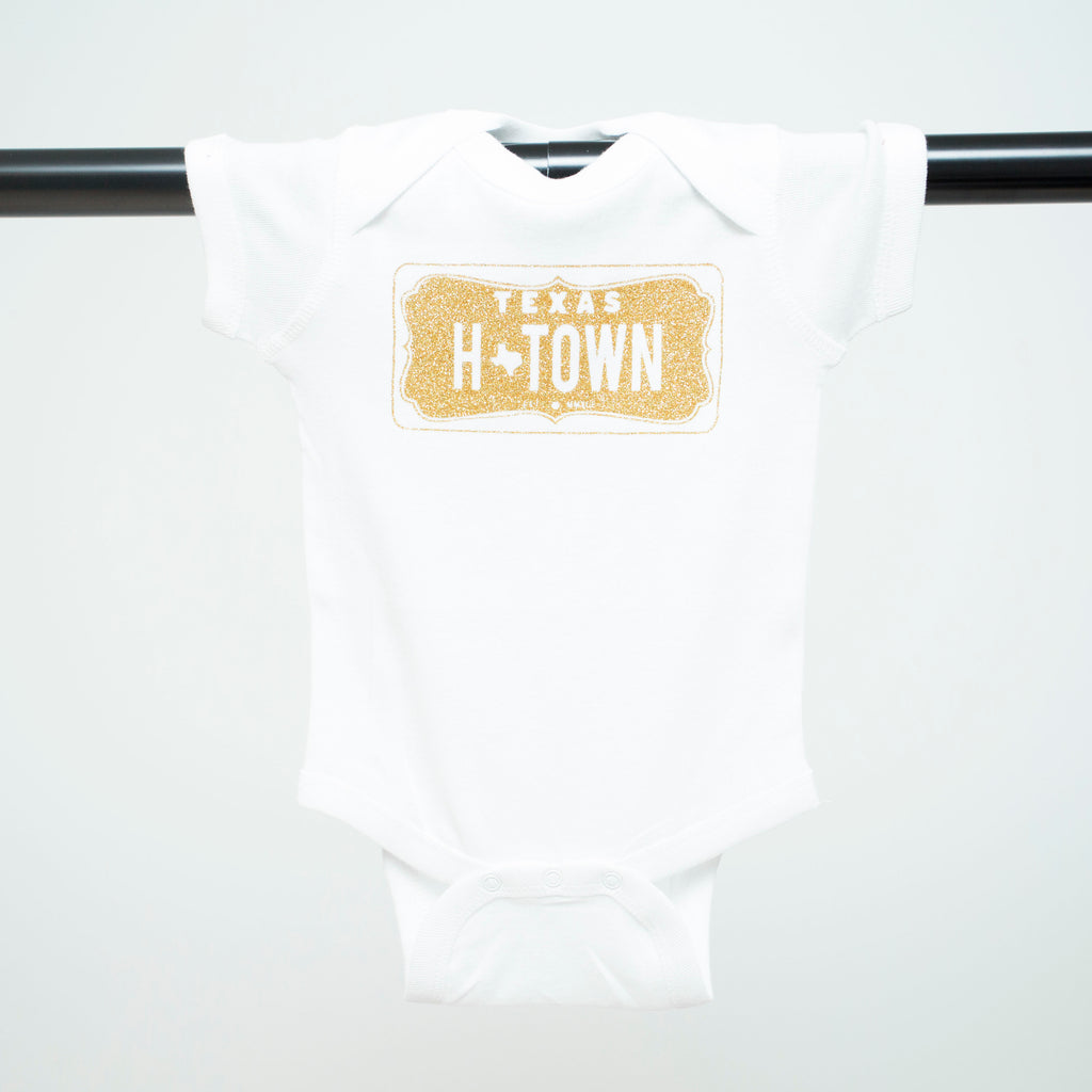 "HoggLife ""H-Town"" Onesie - White/Gold"