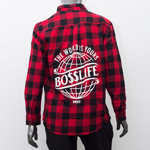 "BossLife ""World is Yours"" Flannel - Red/Black"