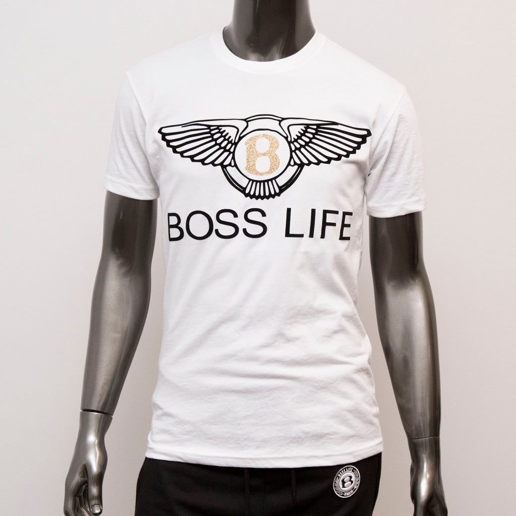 "BossLife ""Wings"" Tee - White/Gold/Black"