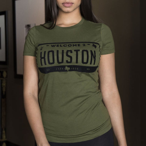 "HoggLife ""Welcome 2 Houston"" Women's Tee - Olive/Black"