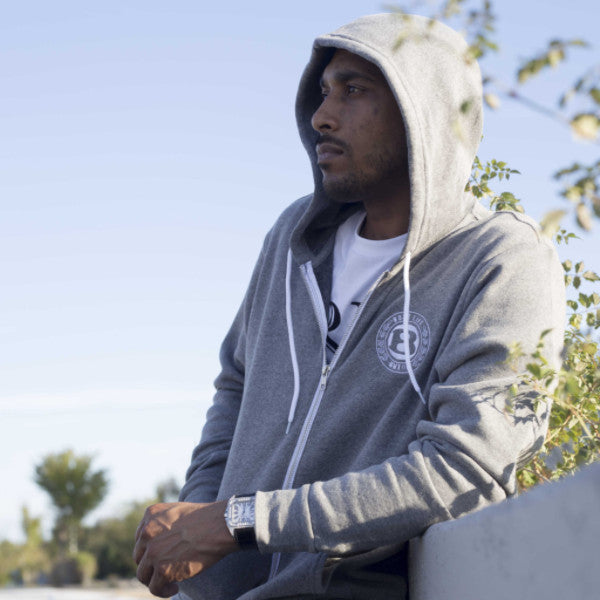 "BossLife ""Circle B"" Zip up Hoodie - Grey - BossLifeWorld"