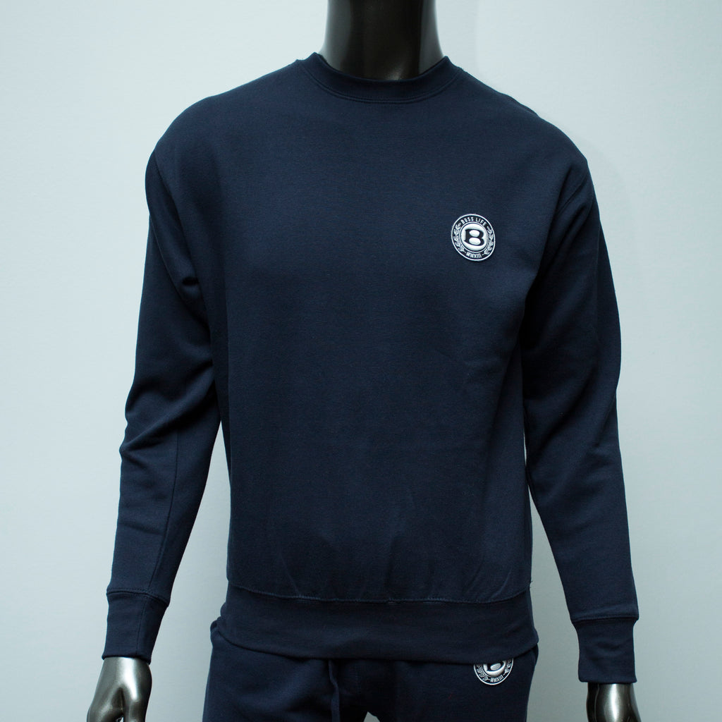 "BossLife ""Circle B"" Pullover Crewneck -Navy/Patch"