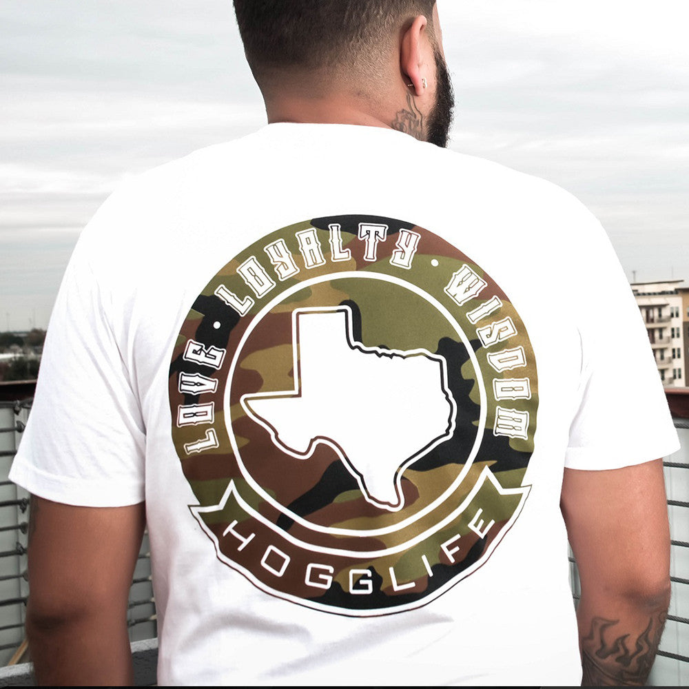 "HoggLife ""TEXAS""  Tee - White/Camo - BossLifeWorld  - 1"