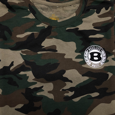 "BossLife ""Circle B""French Terry Tee - Camo"