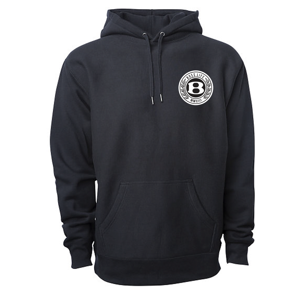 "BossLife ""Circle B"" Premium Hoodie - Black/Chenille Patch"