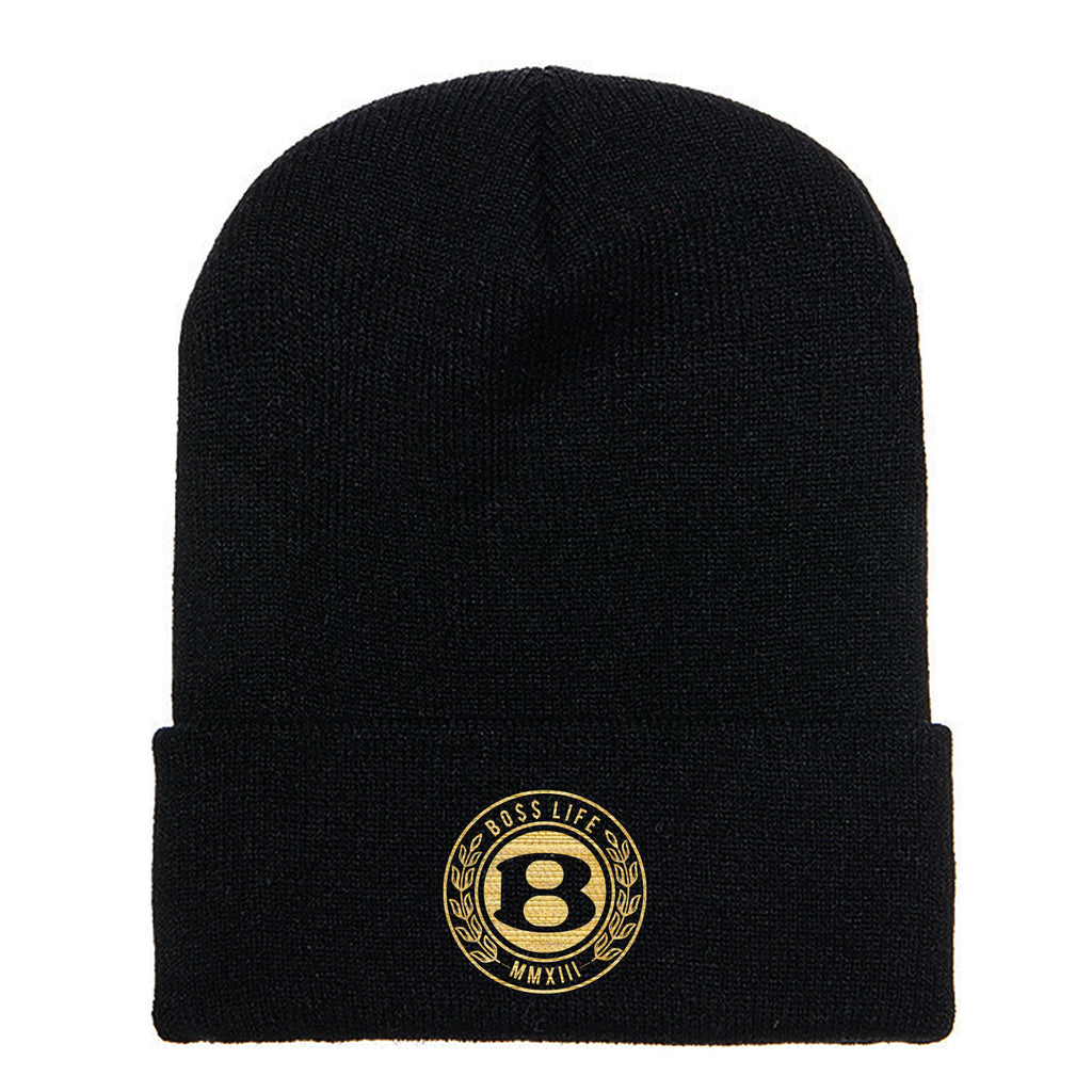 "BossLife ""Circle B"" Beanie - Black/Gold"