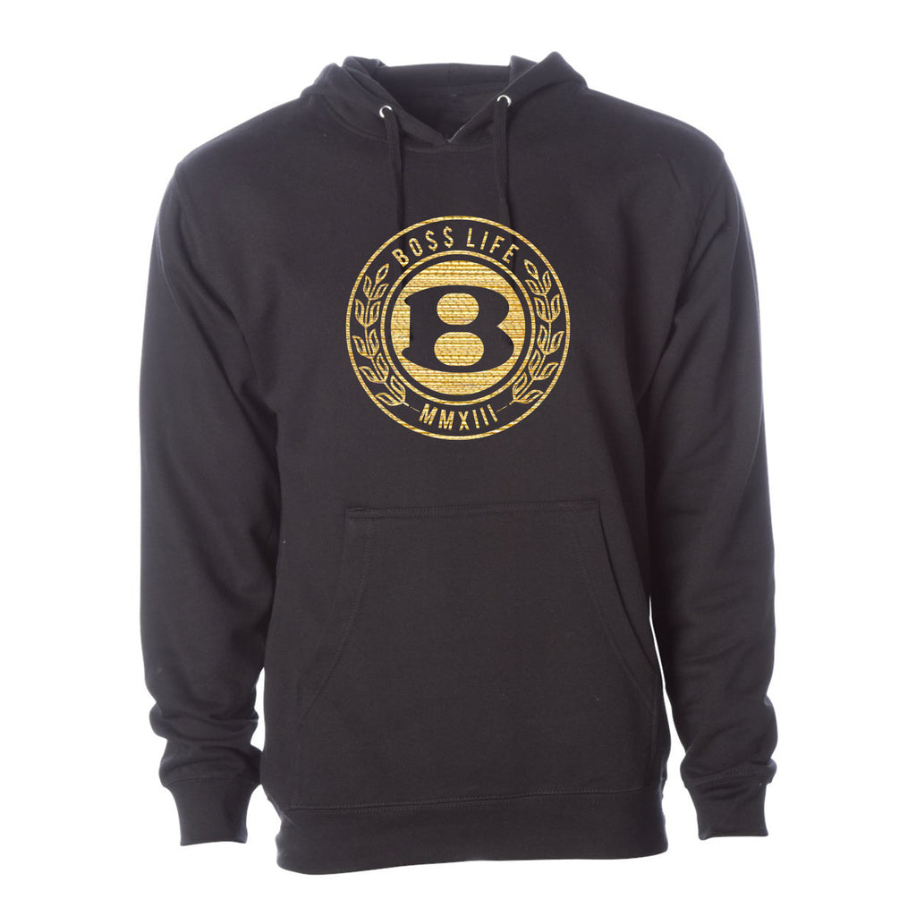 "BossLife ""Circle B"" Hoodie - Black/Gold"