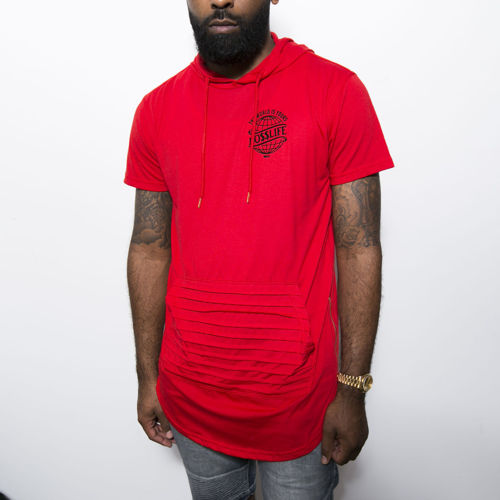 "BossLife ""World"" Elongated Tee - Red"