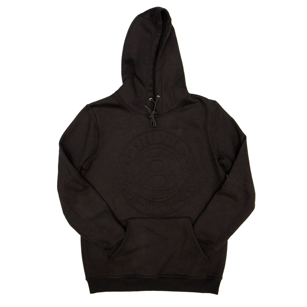 "BossLife ""Circle B"" Embossed Hoodie - Black/Black"